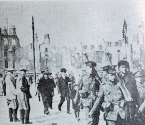 After the surrender - Sinn Fein photo, O'Connell Bridge, Dublin