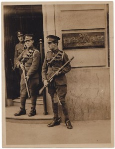 1920, Dublin. British Troops guarding the Hibernian Bank on the corner of O'Connell Street and Abby Street during the War of Independents