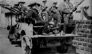 1920, Ireland. British troops at the ready in what looks like it a P.R. photograph