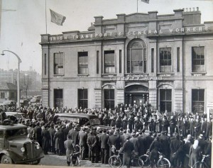 Very rare photo: Father O'Flannagan's funeral passing Liberty Hall on its way to Glasnevin. This man by the way is a relative of Ming Flanagan T.D.