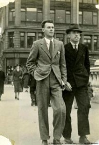 George Lennon and Roger McCorley, Old IRA, crossing what appears to be O'Connell Bridge Dublin