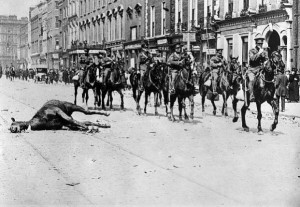 Lancers in O'Connell Street 1916. The dead Lancers killed in the first charge of the Rising on the GPO are all buried in Grangegorman Cemetery. When you go in the gate, they are over on the extreme right.