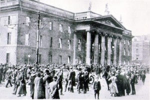 The shelled out remains of The GPO, where the rebels made their biggest and most determined stand, burned out by incendiarism at the last moment.  By James langton.