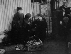 Outside Mountjoy, Maud Gonne McBride centre and Annie McSwiney on the right