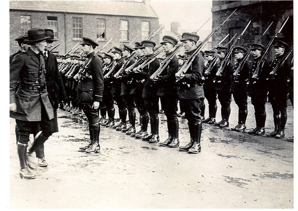 Richard MulCahy accompanied by Eoin O Duffy and Paddy Daly inspect the first Unit of the National Army, with Paddy O Connor