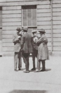 Todd Andrews far left with Andy Cooney and two other Volunteers in the Four Courts 1922