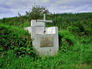 Memorial to Edward Waters, Timothy Kiely and David Herlihy of Cork No. 2 Brigade, shot dead during a British army roundup on the Boggera Mountains near Nadd in February 1921.