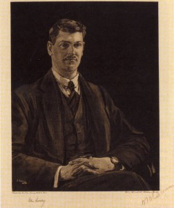 Painting of Michael Collins by Sir John Lavery when in London negotiating the truce The original was said to have been given to Kitty Kiernan but has since been lost.