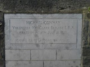 Plaque commemorating IRA Volunteer Michael Conway who was killed whilst trying to disarm two British Army officers on Ennistymon Bridge, Co. Clare