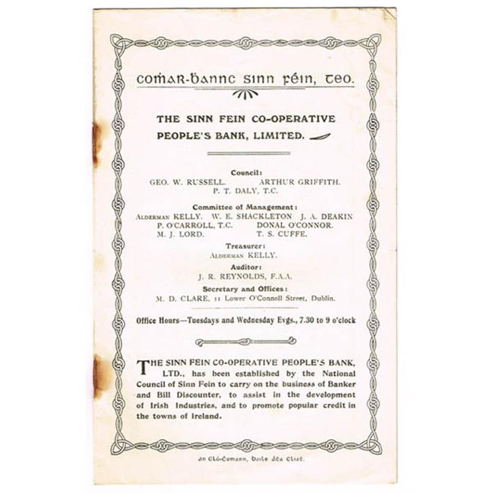 1908 Sinn Fein Co-operative People's Bank prospectus and rules.