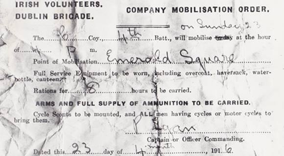 Irish volunteers Dublin Brigade mobilisation 1916