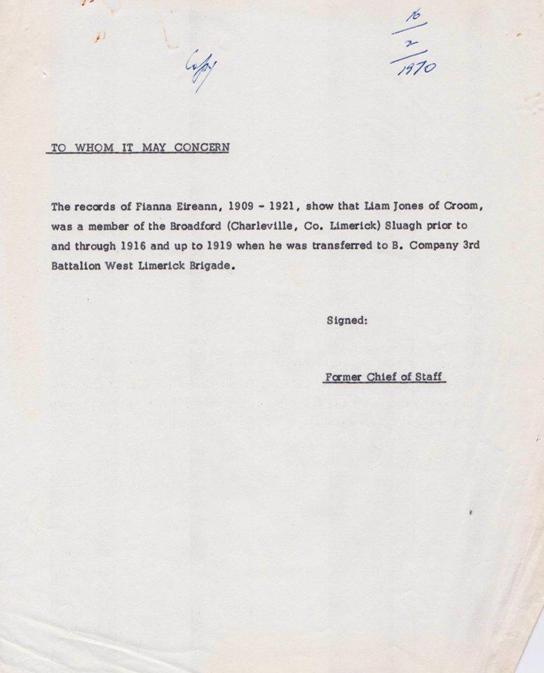 Letter confirming Liam Jones involvement with Fianna Eireann