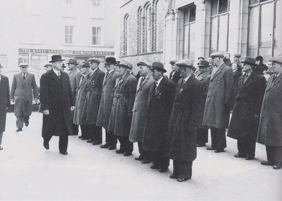 President Eamon de Valera reviews the veterans of the 1916 Enniscorthy Garrison on the fiftieth anniversary of the Rising, Easter 1966