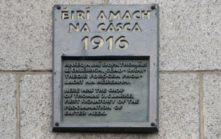 Tom Clarke 1916 commemorative plaque at the junction of Parnell Street and O'Connell Street, Dublin